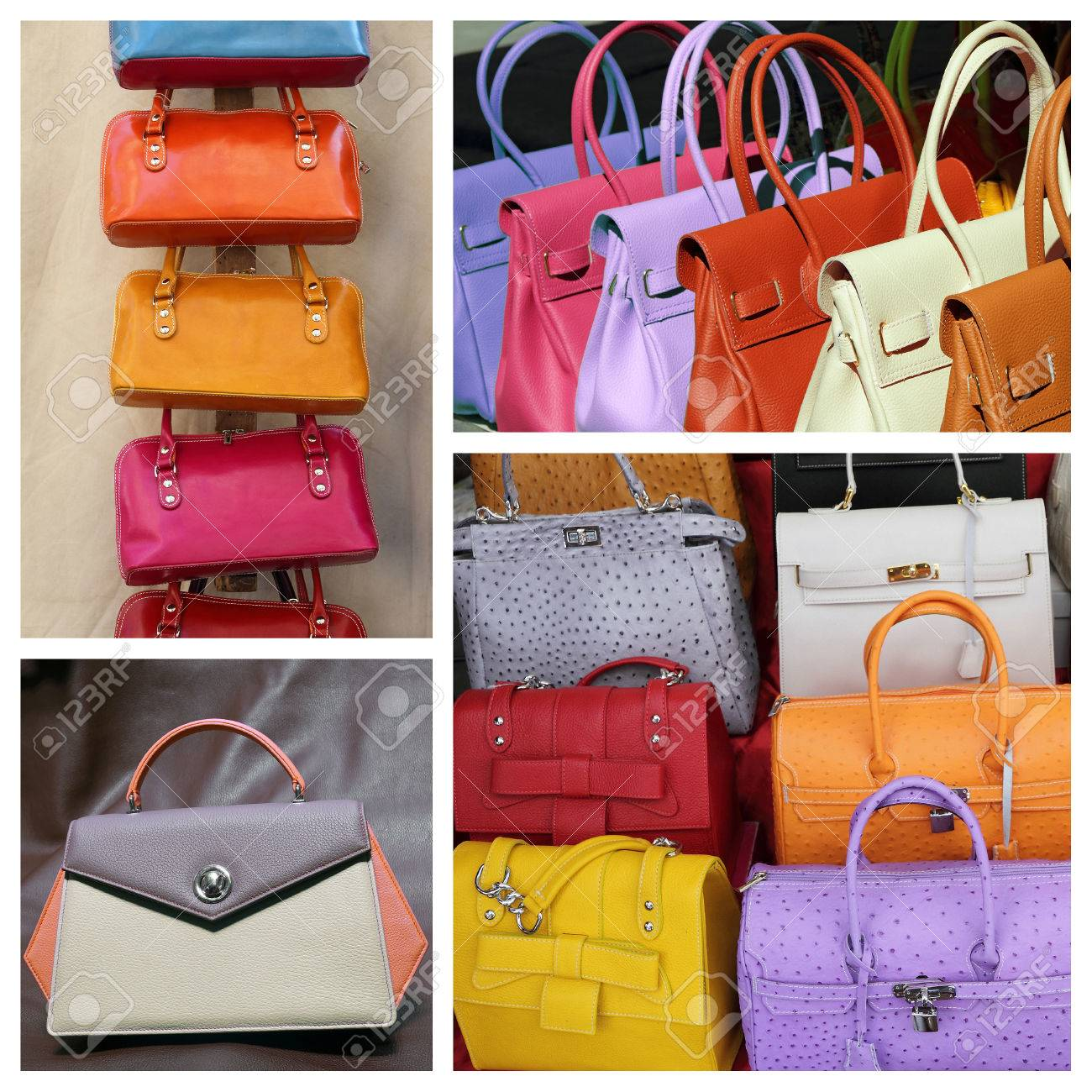 77b3ae0958 colorful fine leather handbags collection Stock Photo - 44351468