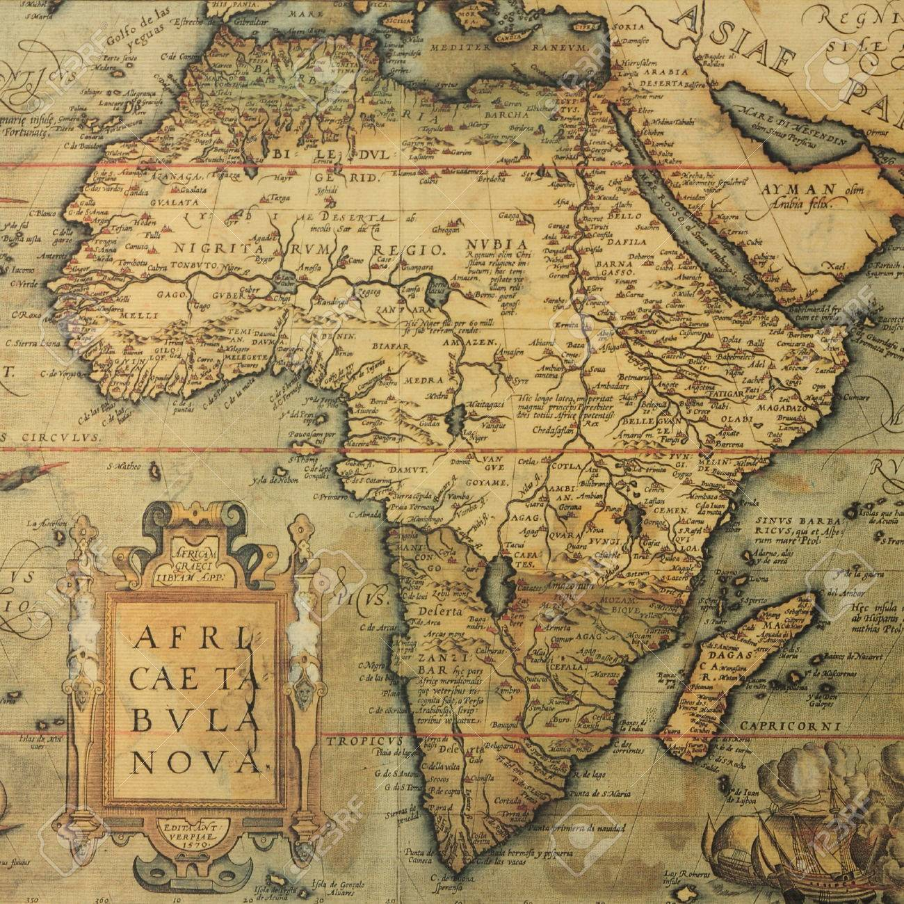 Reproduction Of 16th Century Map Of Africa Engraved And Colored