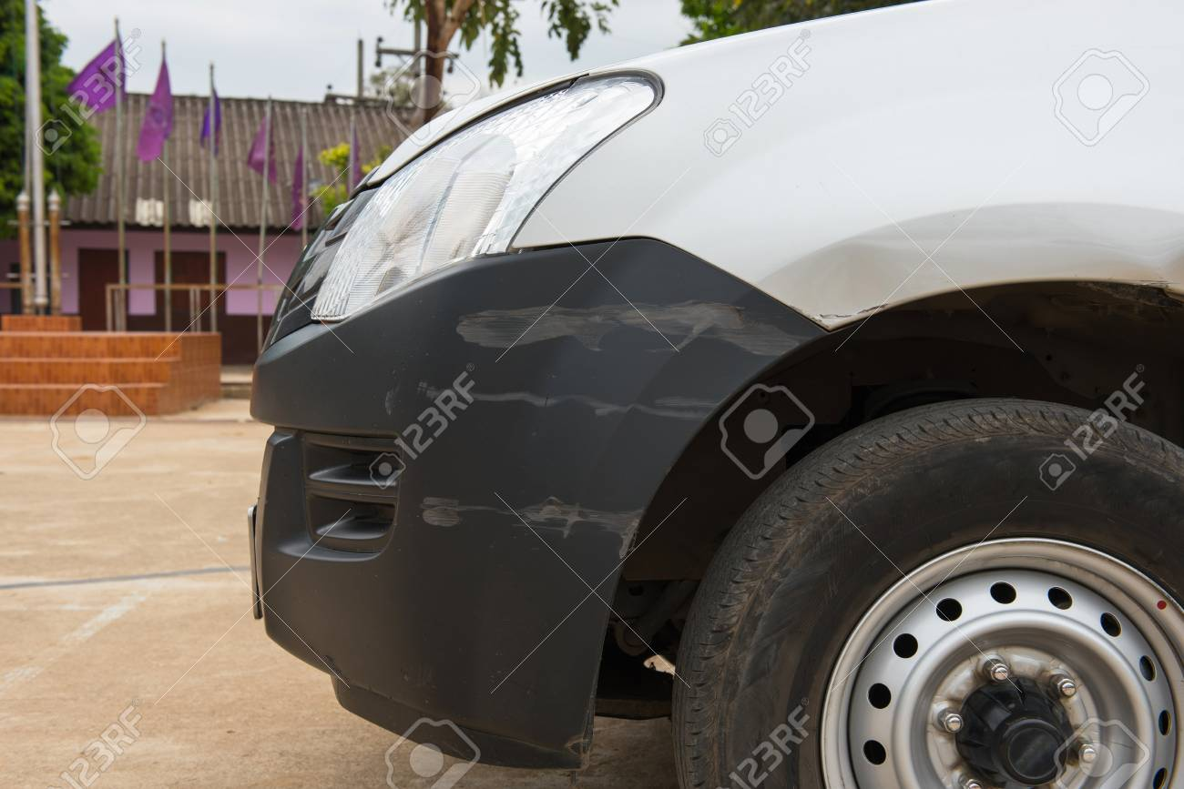 Car have scratched with deep damage to the paint,car accident