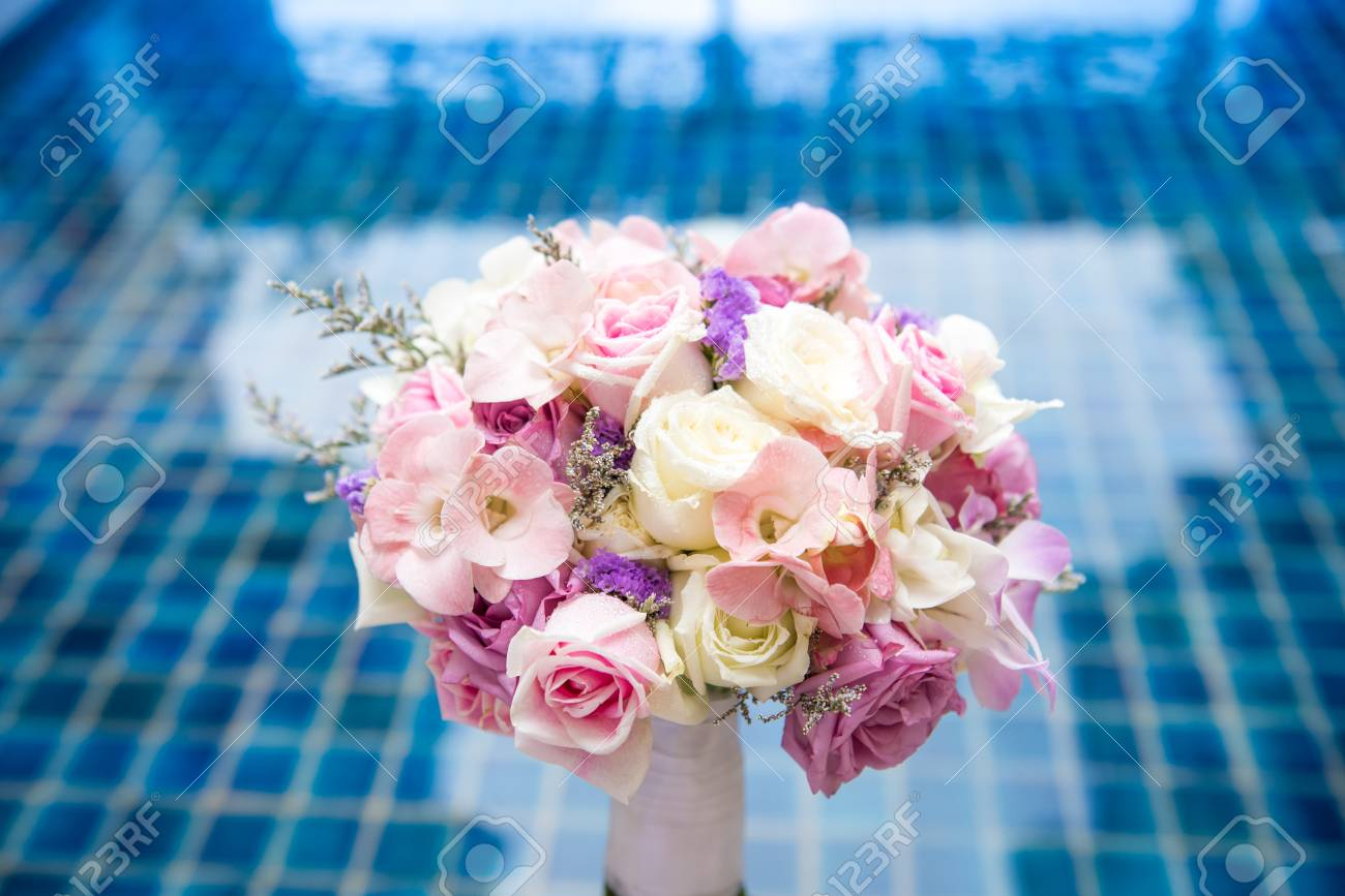 Beautiful Fresh Wedding Bunch Of Pink Lilac Purple White And Stock