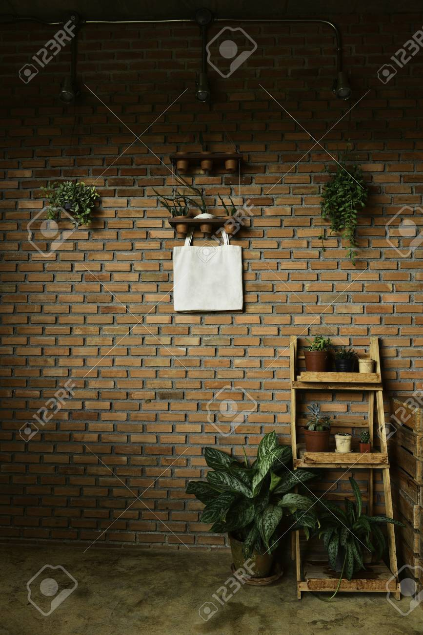 Brick Wall With White Bag And Small Plants And Hang Plant On Stock Photo Picture And Royalty Free Image Image 81489427