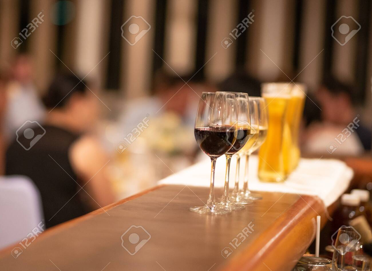 Group Of Cold Beer Glass And Wine On Bar Counter And Free Space Stock Photo Picture And Royalty Free Image Image 142620968