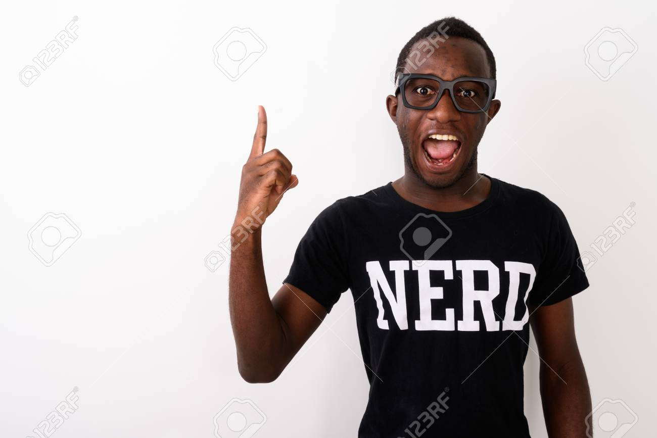 Studio shot of young happy black African geek man with great ide - 111351947