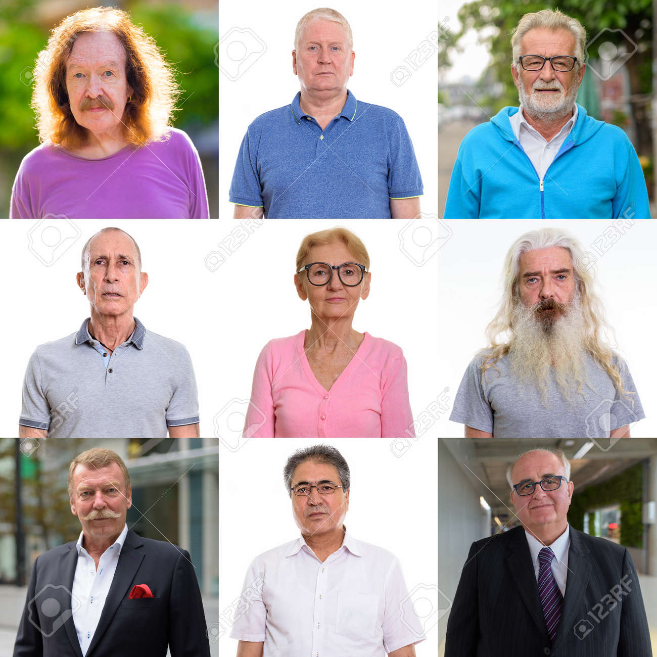 Collage of diverse senior people looking at camera - 155347645