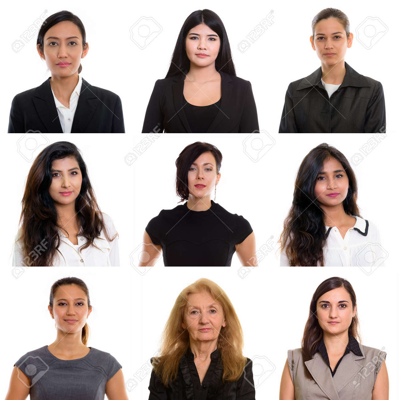 Collage of multi ethnic and mixed age businesswomen - 156251072