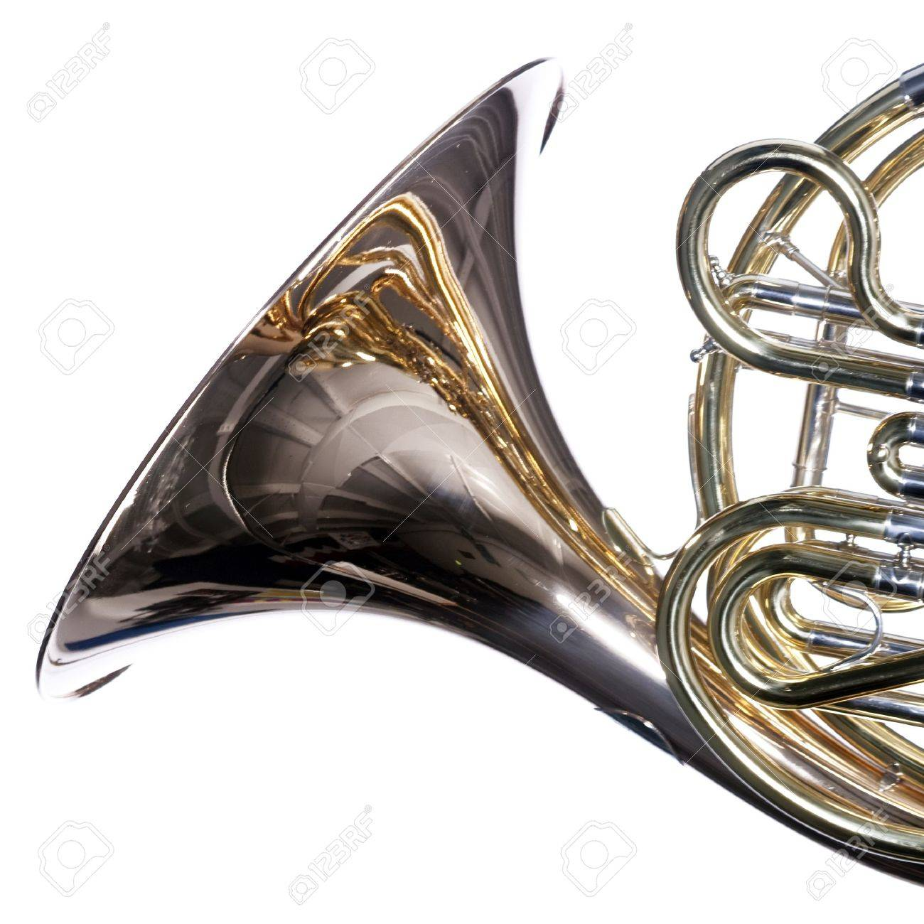 A gold brass French horn close up isolated against a white background  in the square format. Stock Photo - 5193609