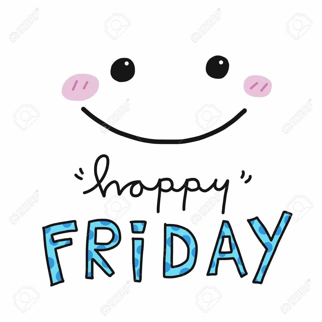 Happy Friday Word And Cute Smile Face Vector Illustration Royalty