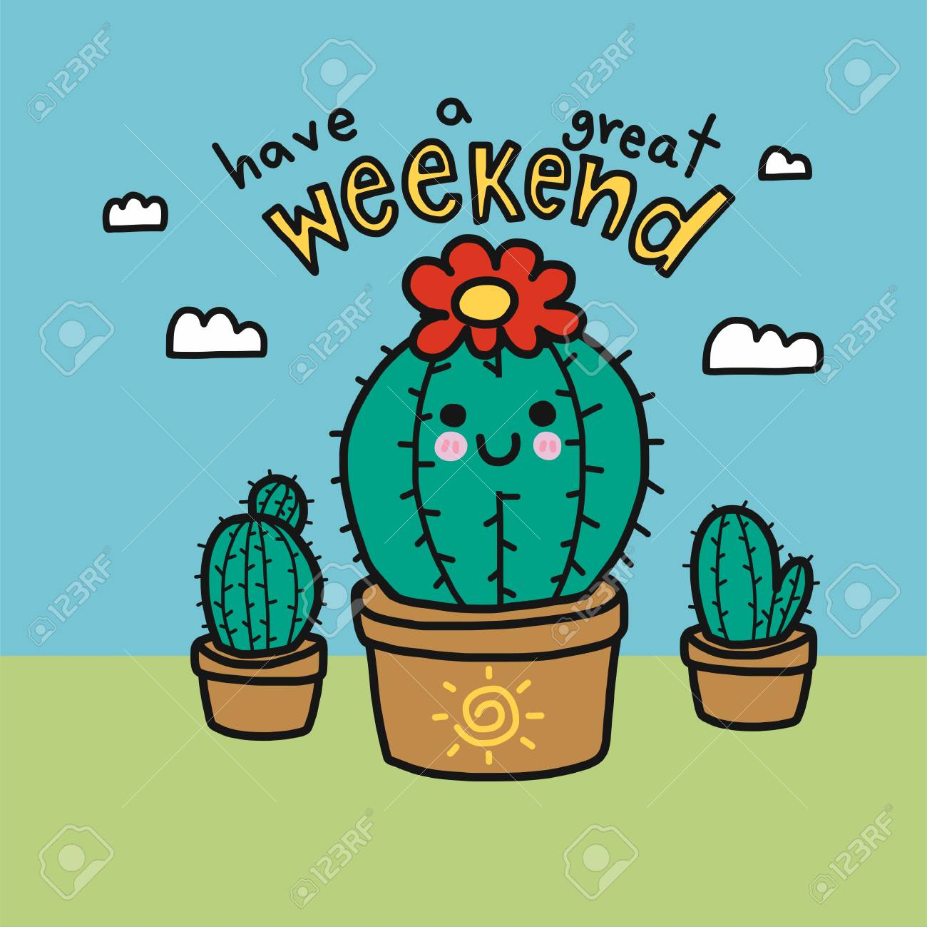 Have A Great Weekend Word And Cute Cactus Cartoon Vector