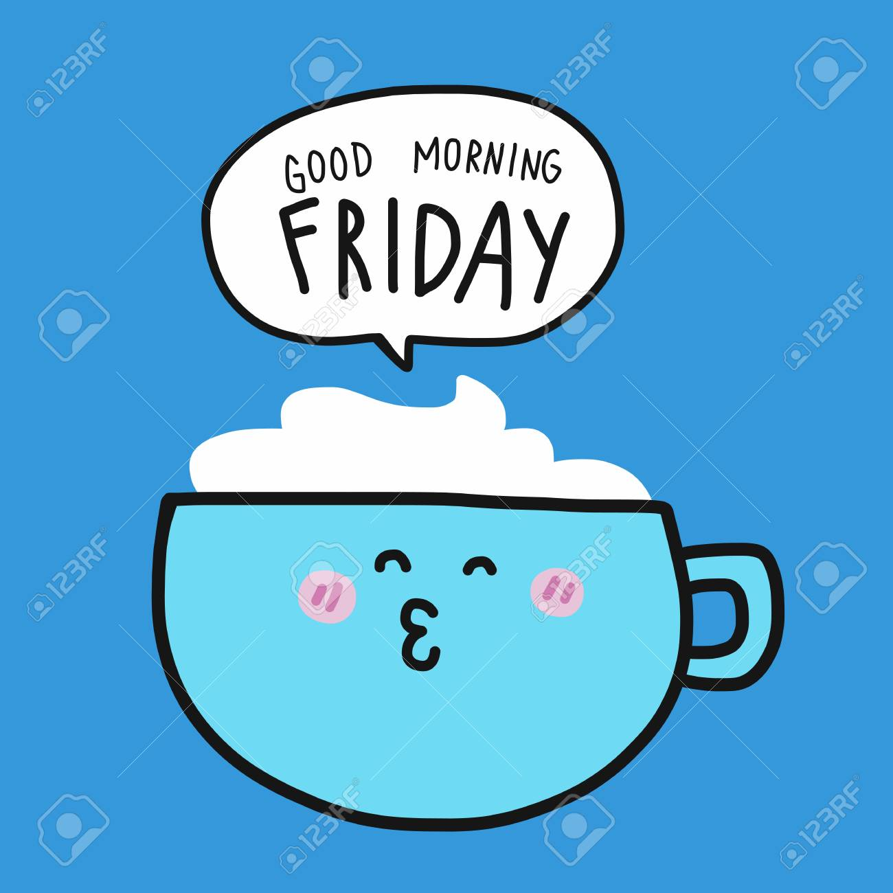 Coffee Cup And Good Morning Weekend Word In Speech Bubble Cartoon