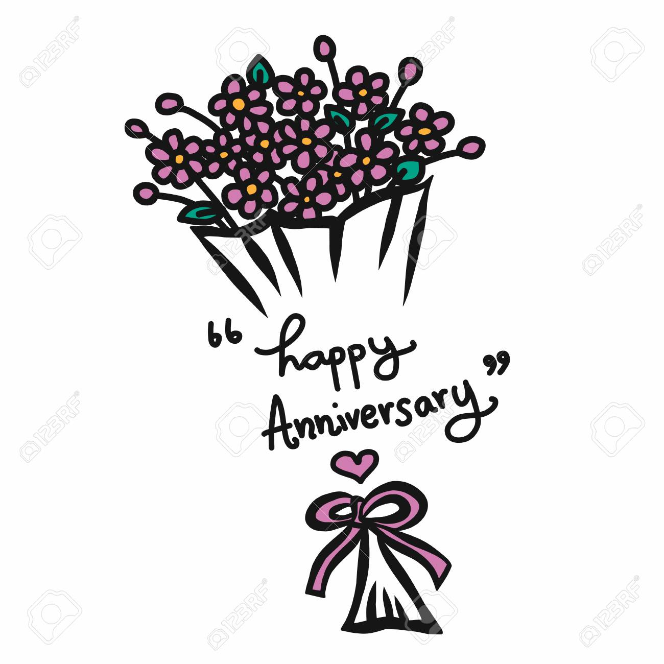 Happy anniversary word and flower bouquet cartoon vector happy anniversary word and flower bouquet cartoon vector illustration stock vector 103869919 izmirmasajfo