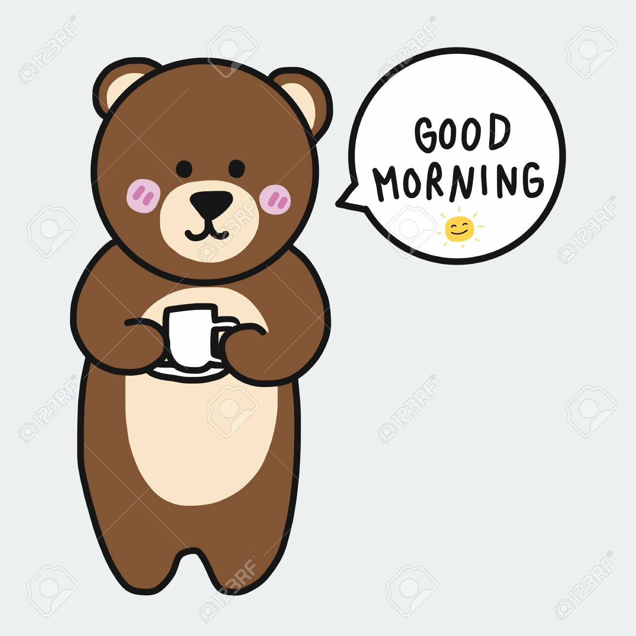 Brown Bear With Coffee Cup And Say Good Morning Cartoon Illustration