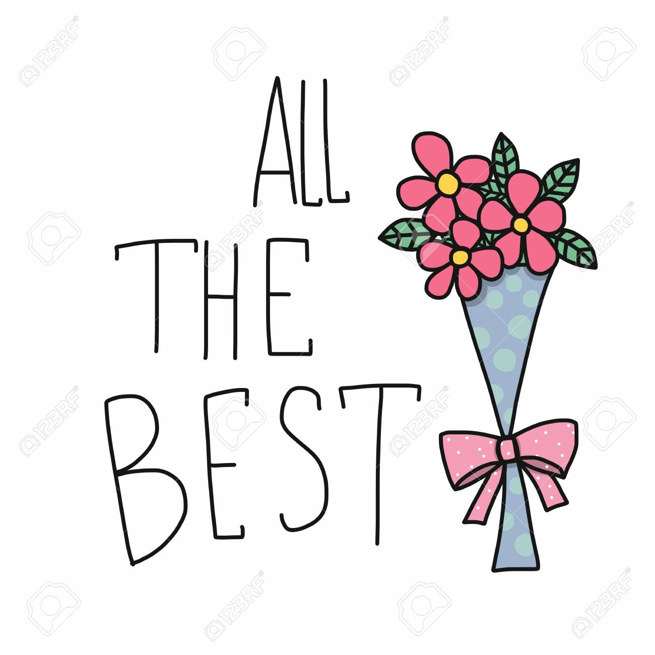 All The Best Word And Pink Flower Bouquet Cartoon Vector ...