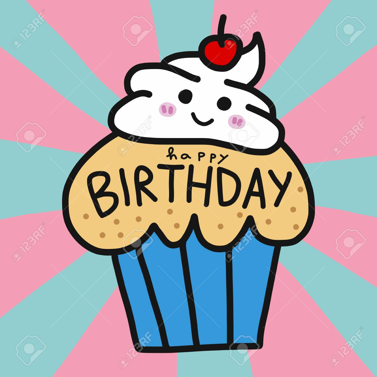 Superb Happy Birthday Cup Cake Cute Cartoon Vector Illustration Doodle Personalised Birthday Cards Cominlily Jamesorg