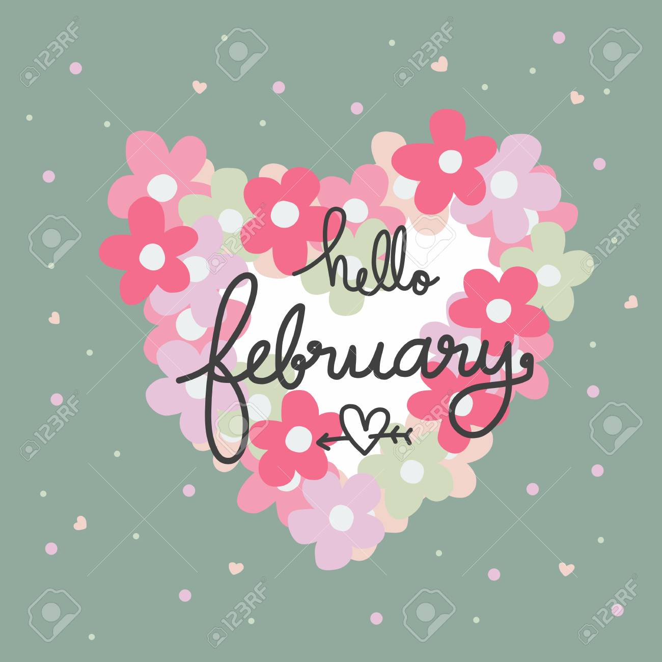 Hello February Word And Pink Flower Heart Frame Cartoon Vector