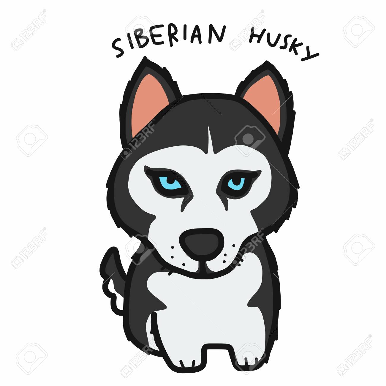 Siberian Husky Dog Cartoon Vector Illustration Royalty Free Cliparts Vectors And Stock Illustration Image 109588793