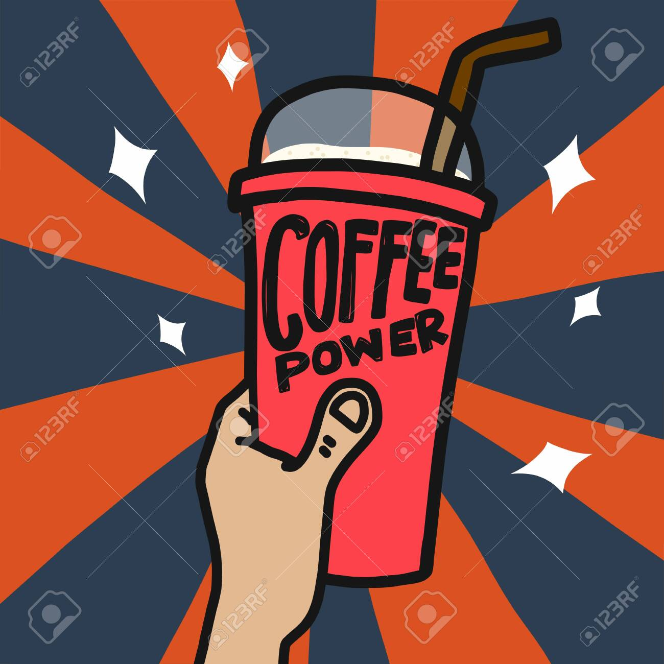 Coffee power ice cup in hand vector illustration - 133542412