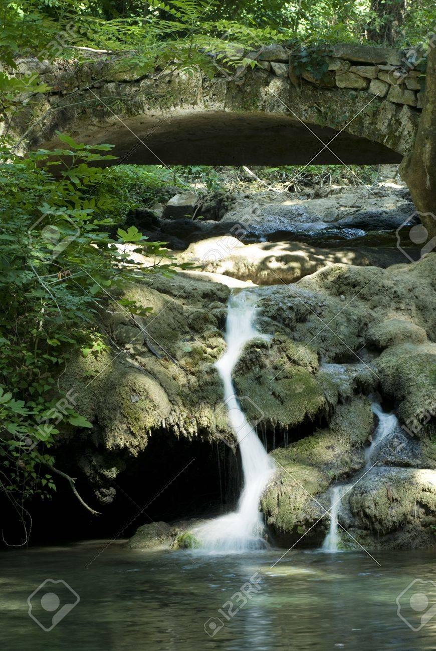 Waterfall and bridge Stock Photo - 7805559