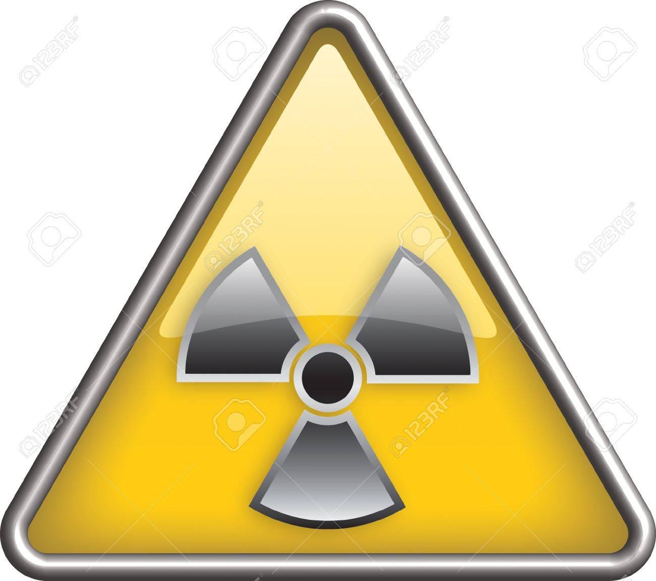 Radiation icon, hazard radiation icon in yellow triangle Stock Vector - 9165095