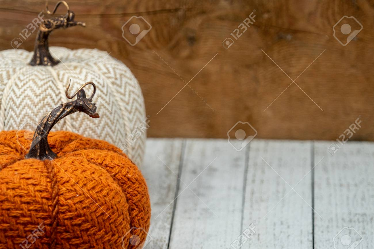 Decorative Fabric Pumpkins Orange And White On Wood Background Stock Photo Picture And Royalty Free Image Image 115103961