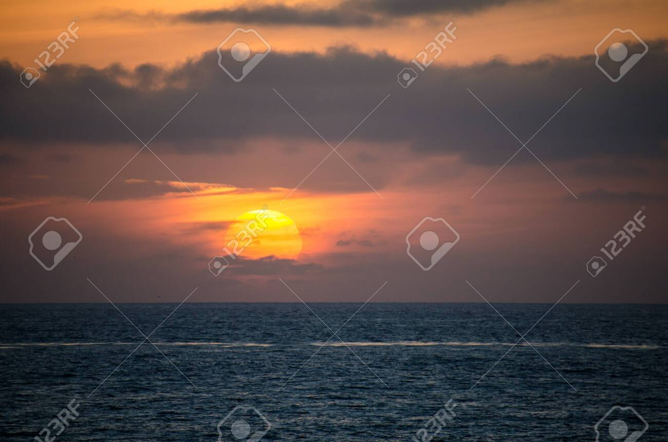 Colorful Orange And Purple Sunset On The Pacific Ocean In La Stock Photo Picture And Royalty Free Image Image 135766030