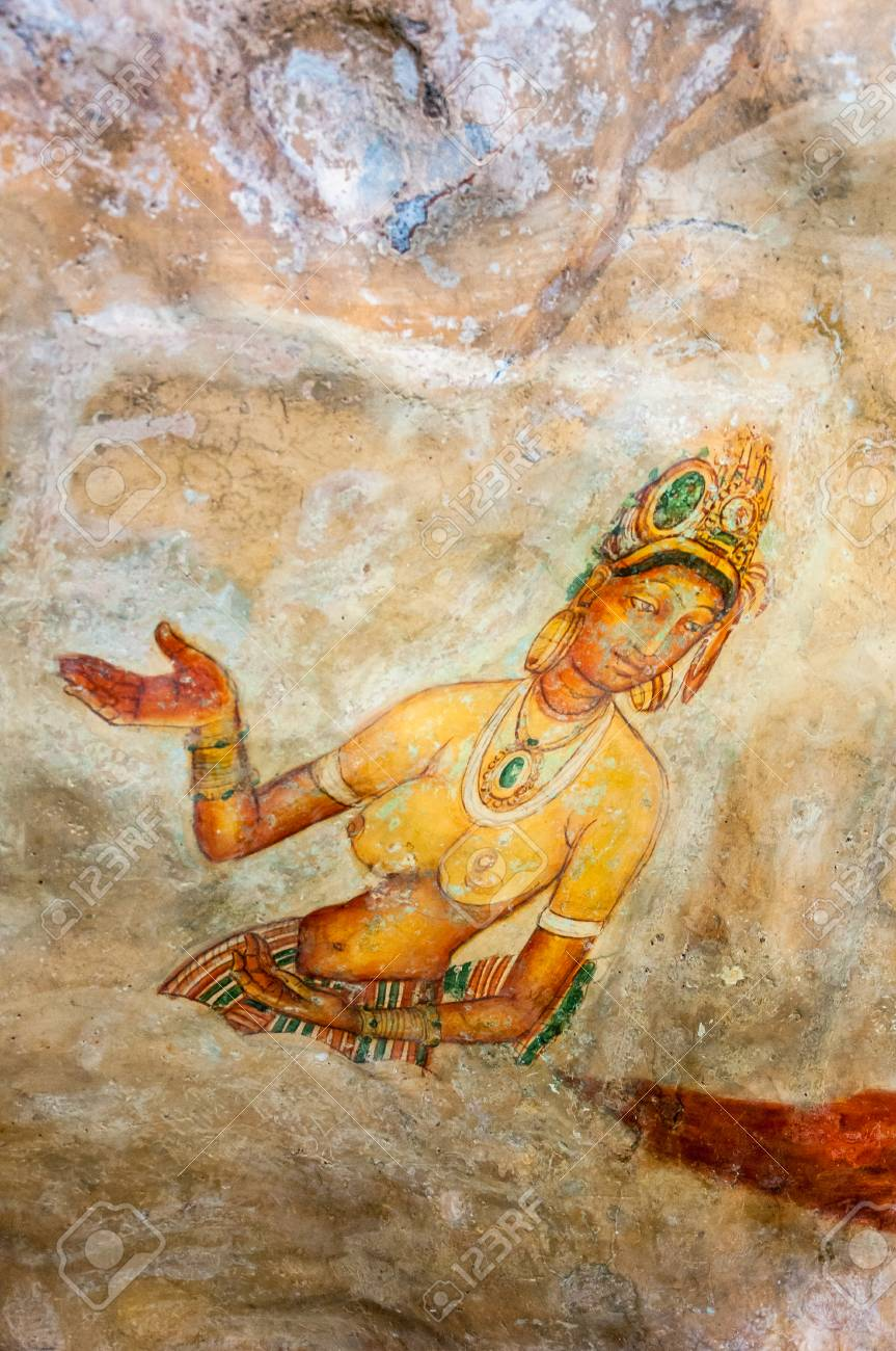 Ancient Famous Wall Paintings At Sigirya Sri Lanka Stock Photo