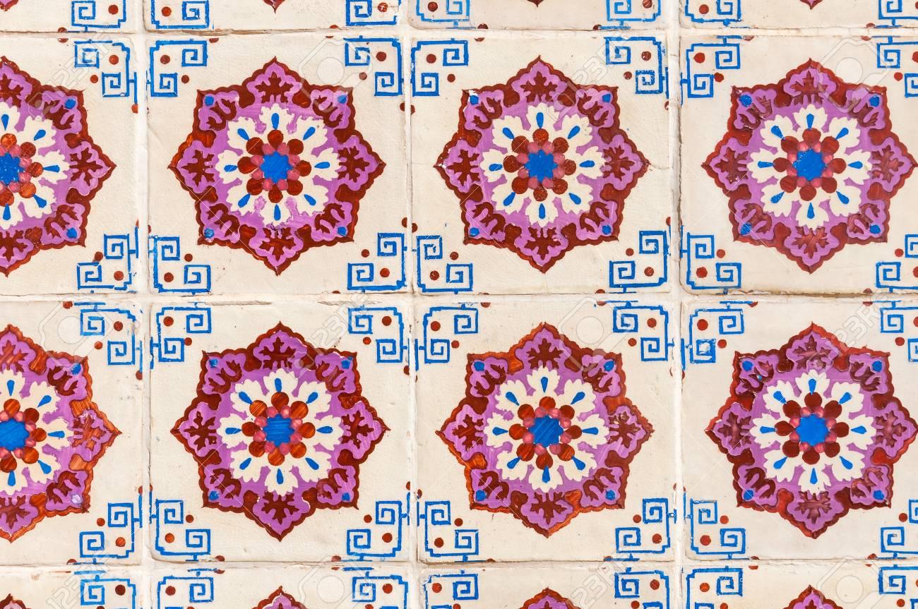 Archivio Fotografico   Sfondo Fatto Di Tradizionali Piastrelle Portoghesi  Di Ceramica Chiamato Azulejos