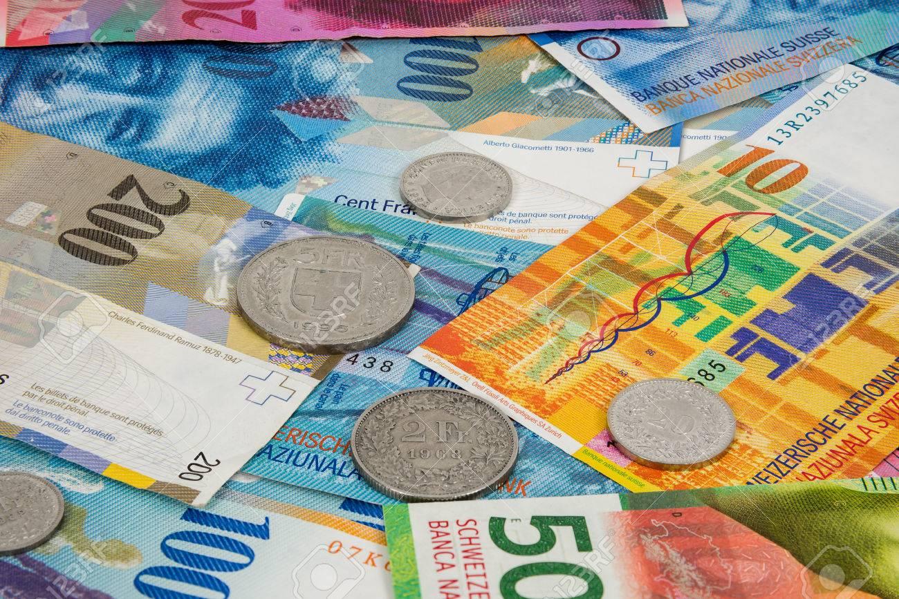 Business Hintergrund Der Schweizer Franken Und Münzen Lizenzfreie