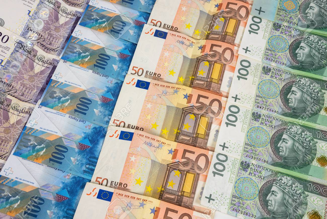 Gbp Euro Pln And Chf Banknotes Laying In A Rows Stock Photo Picture