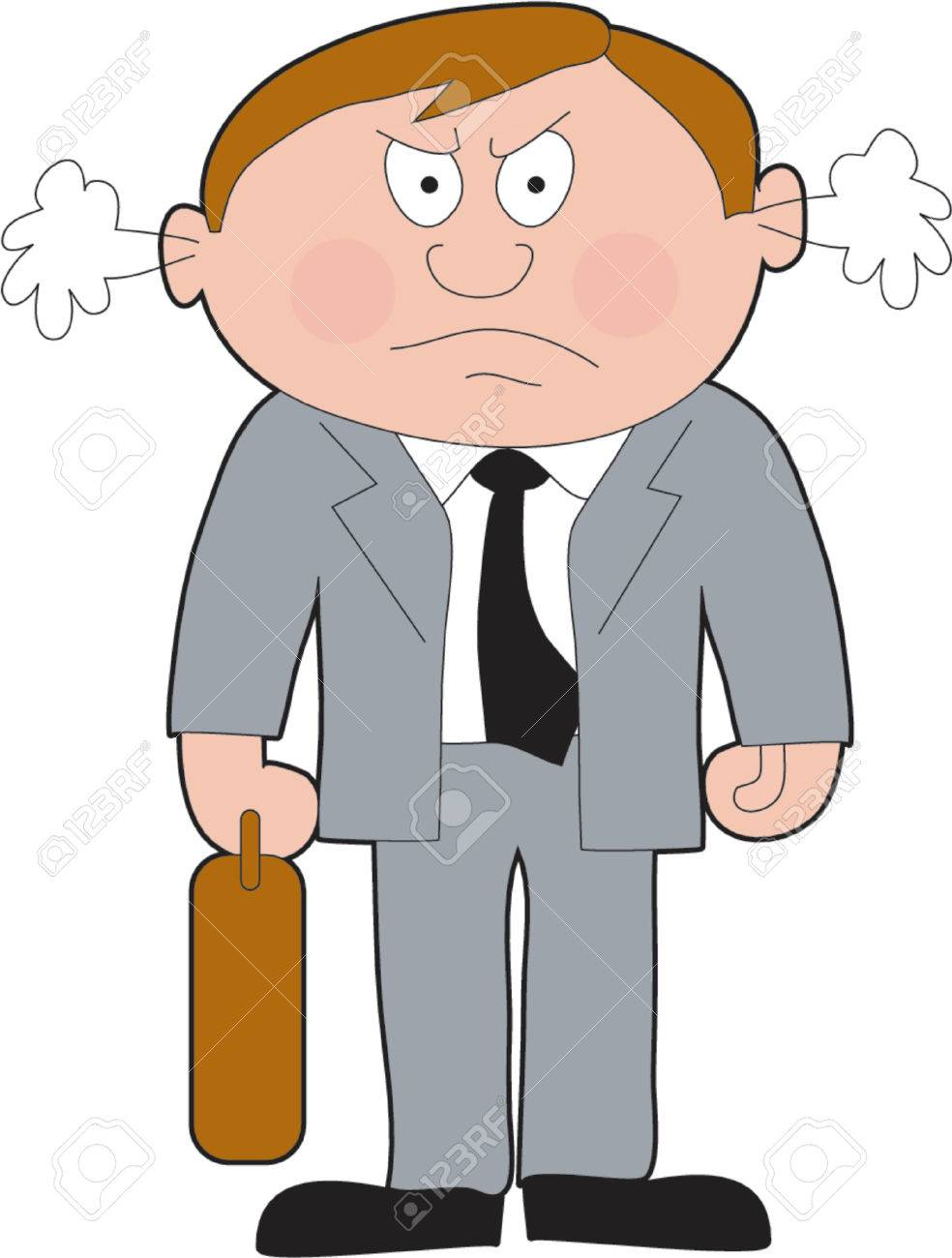 Angry business man with attache case Stock Vector - 601703