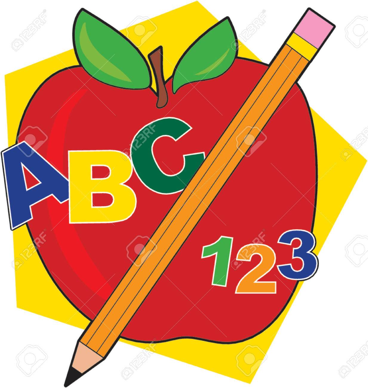 Apple with a pencil and ABCs Stock Vector - 601704