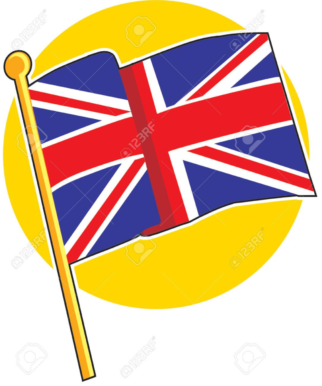 The British flag on a yellow circle Stock Vector - 730840