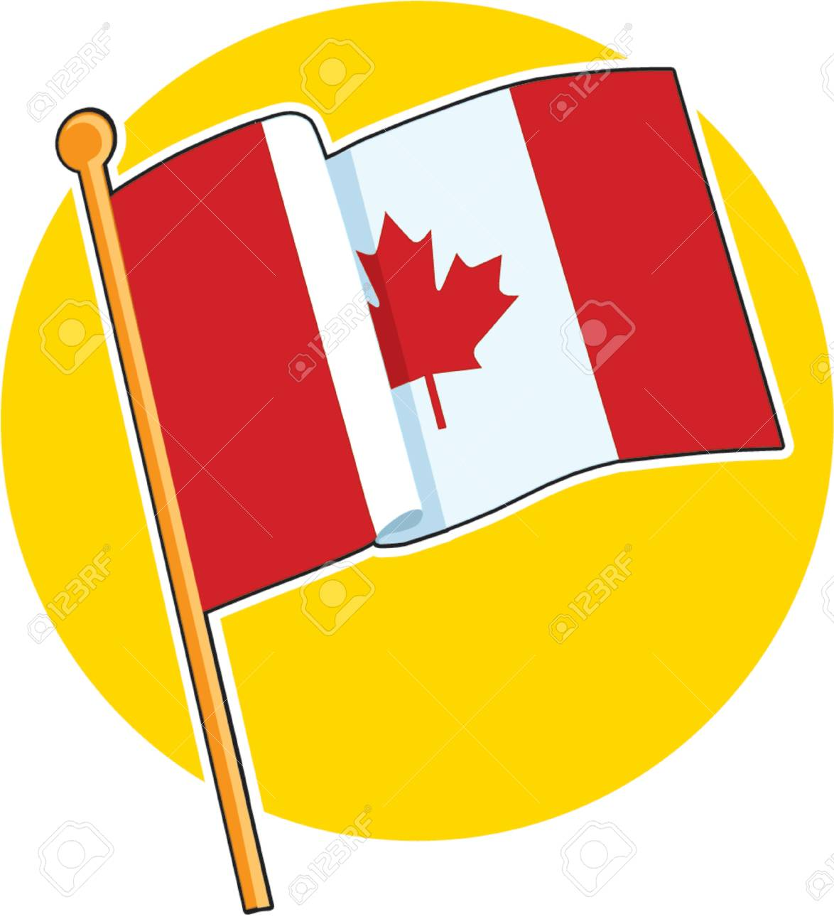 The Canadian flag on a yellow circle Stock Vector - 730839