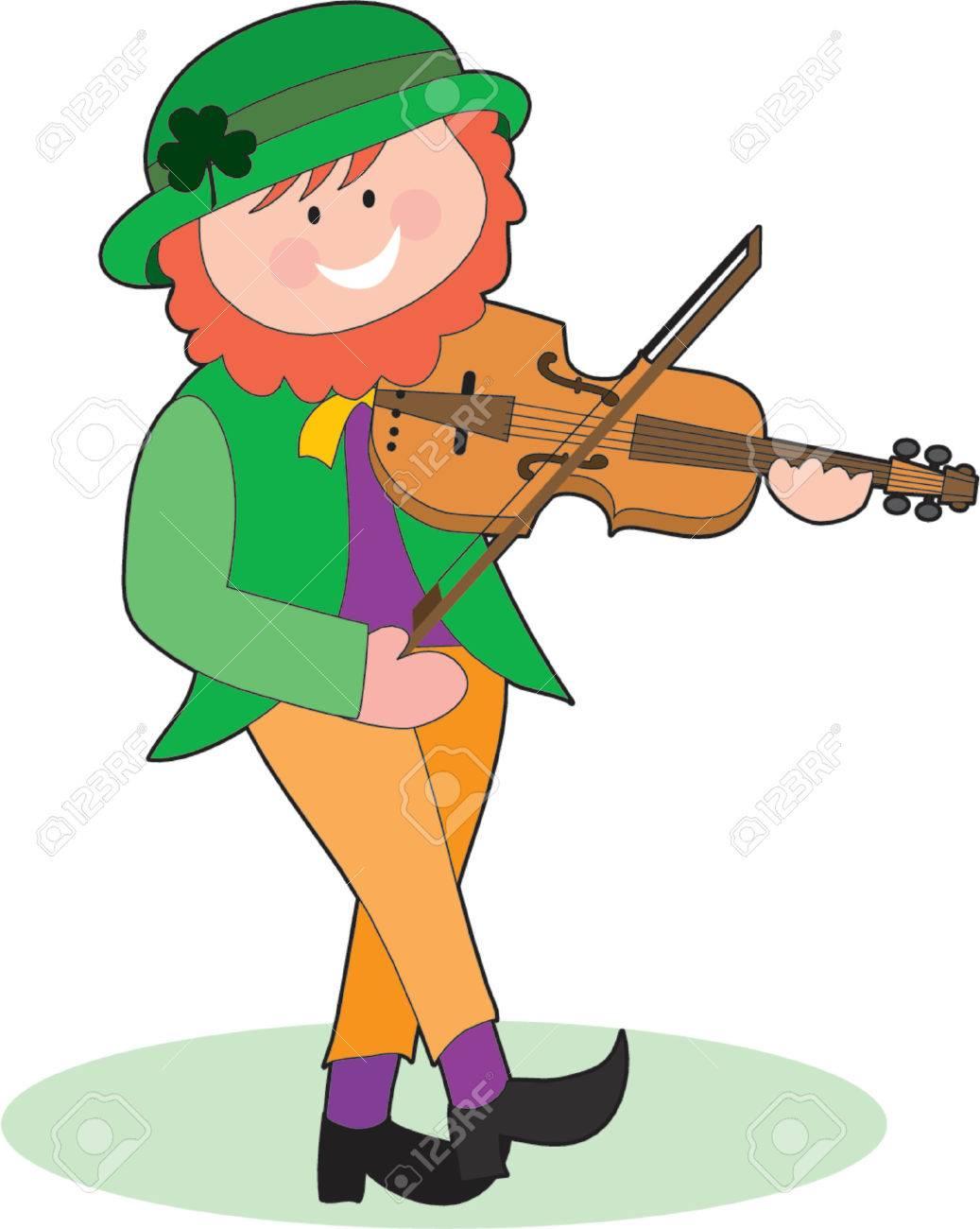 An Irish Leprechaun playing a violin and dancing Stock Vector - 755643