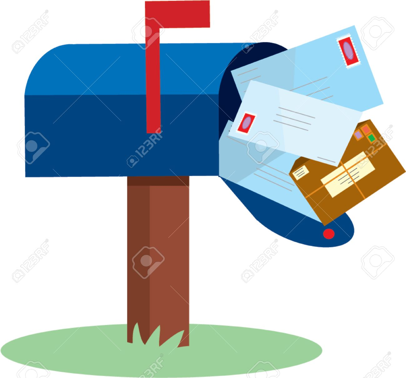 Mailbox full of mail with red flap up Stock Vector - 825974