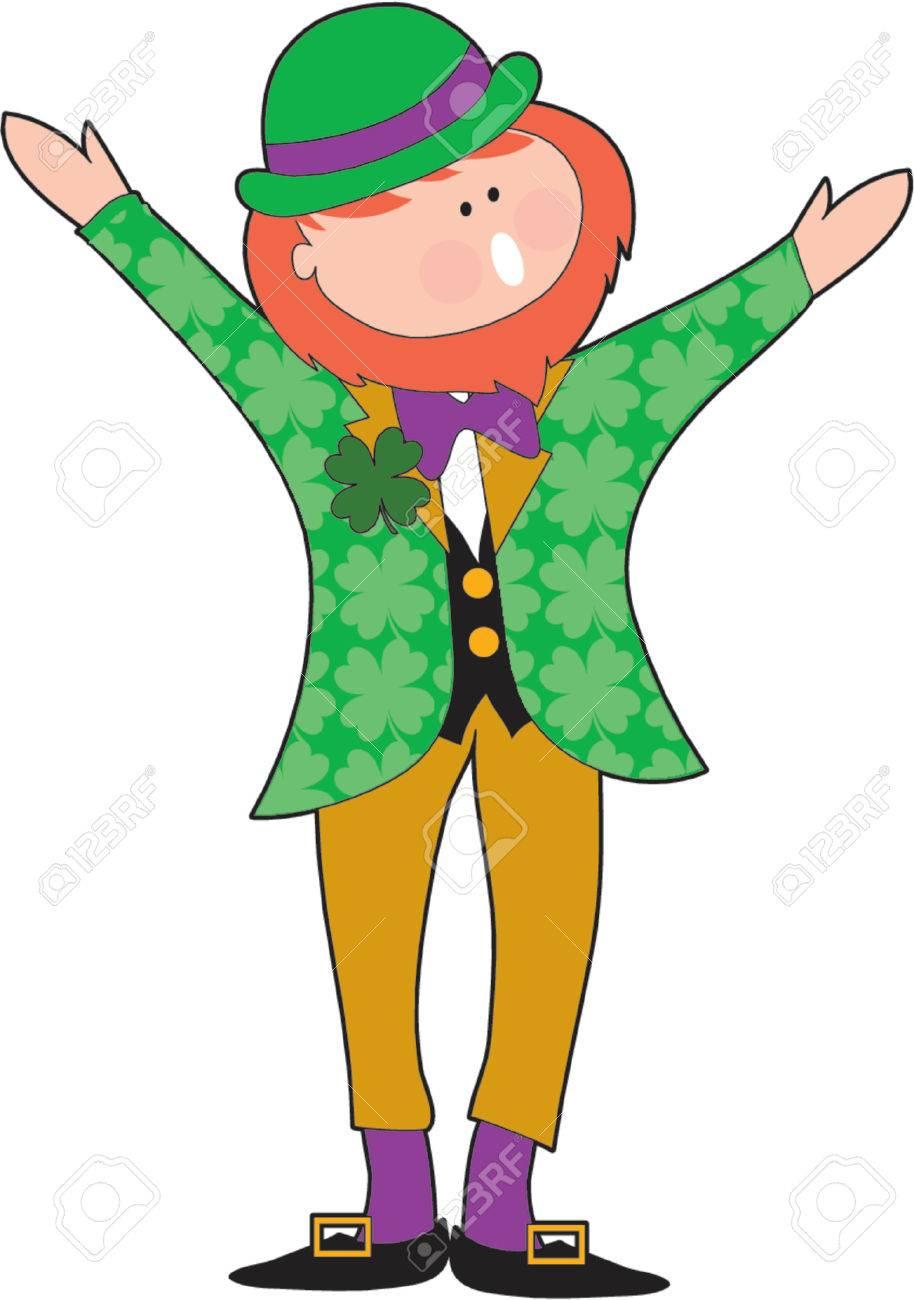 Leprechaun singing with shamrocks on his jacket Stock Vector - 825969