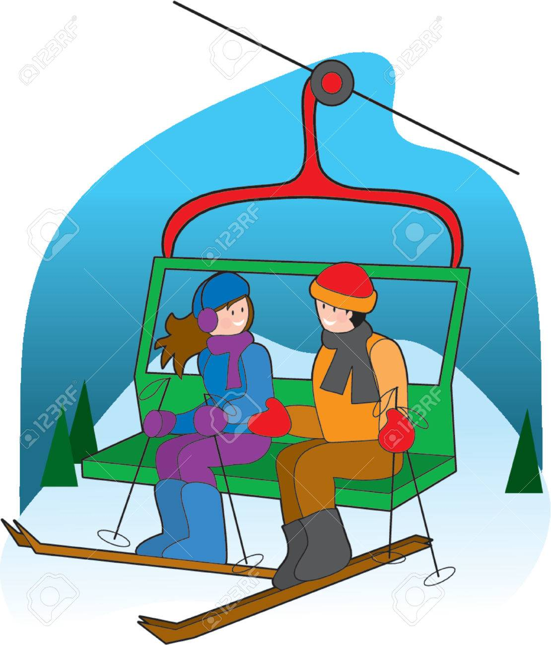 Couple Chatting On A Ski Lift Royalty Free Cliparts Vectors And Stock Illustration Image 825967
