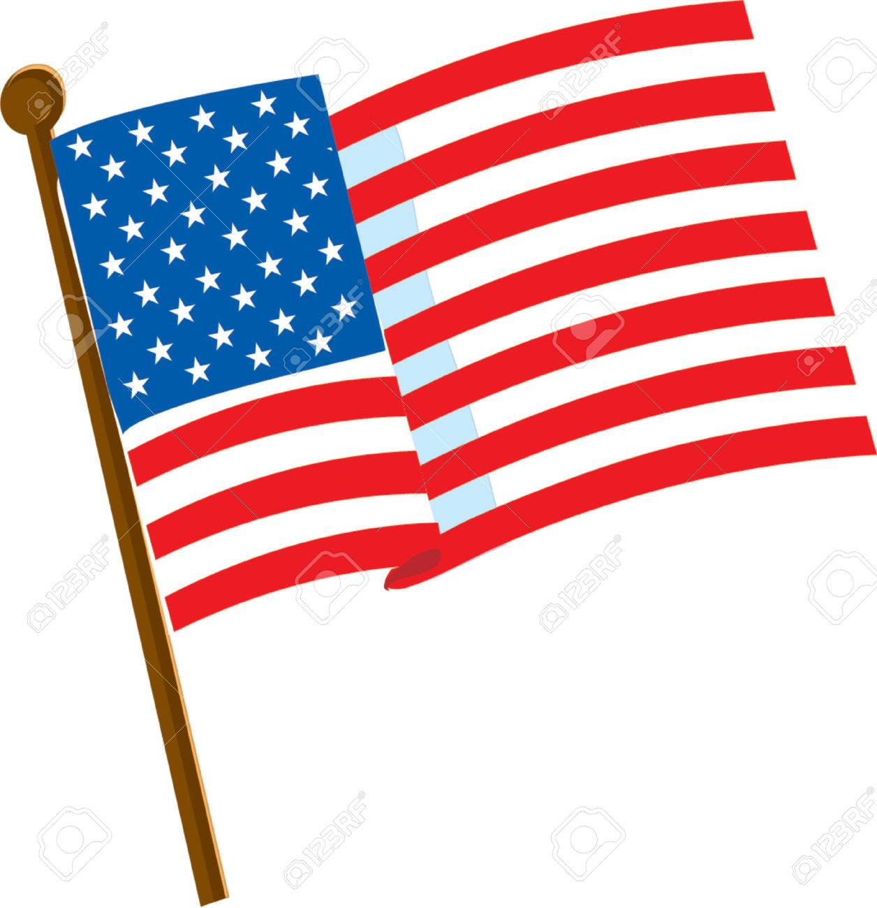 american flag on a white background with 50 stars royalty free rh 123rf com American Flag Vertical Vector Clip Art us flag clipart vector