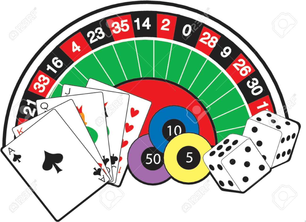 Roulette Wheel Cards Dice And Poker Chips Royalty Free Cliparts Vectors And Stock Illustration Image 1029282