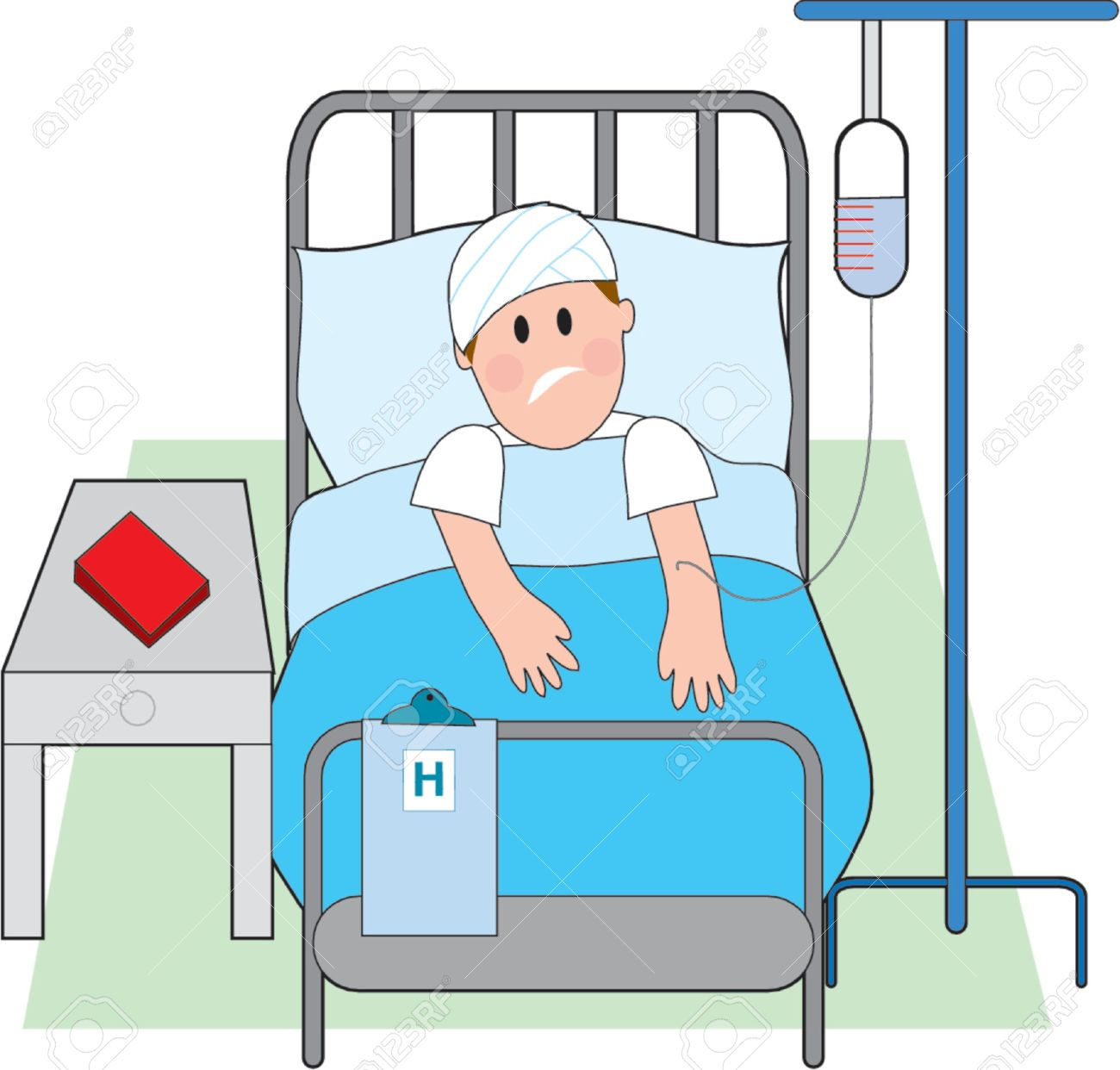 Sick Man In Hospital Bed With Intravenous Royalty Free Cliparts