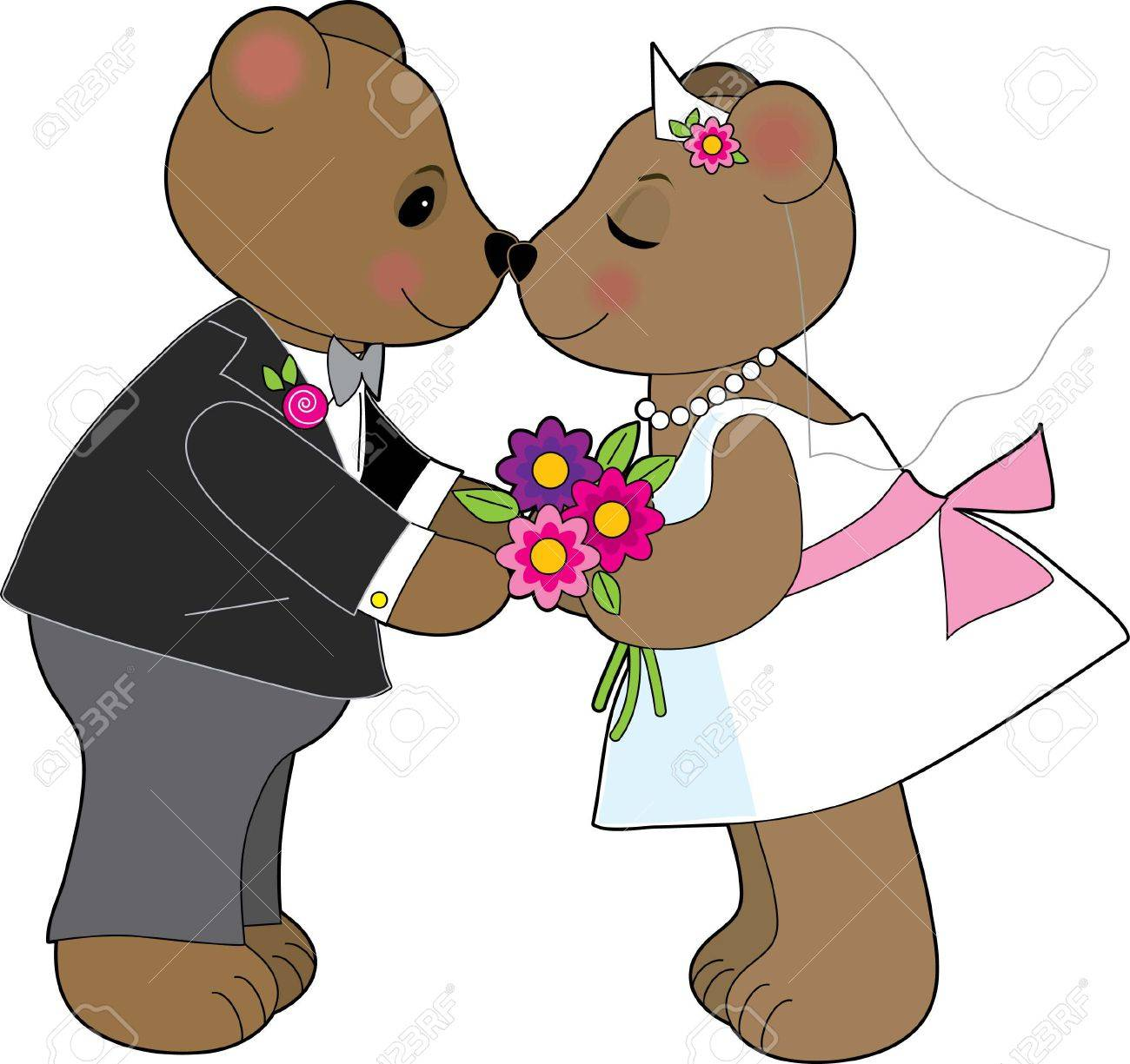 A pair of teddy bears getting married Stock Vector - 1696270