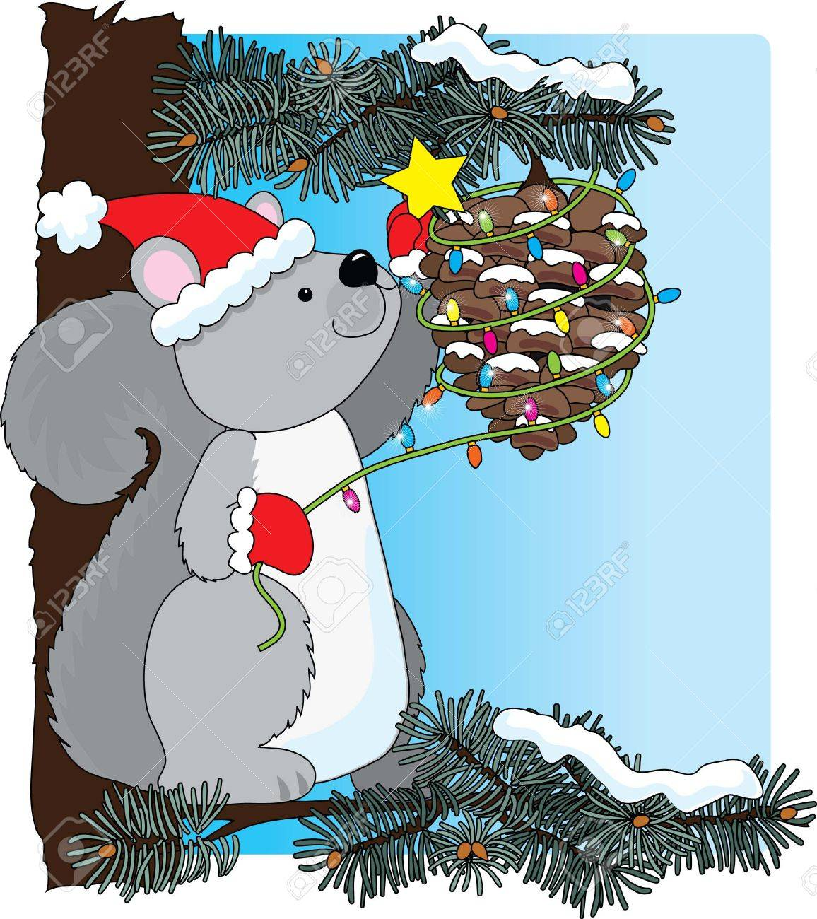 A squirrel decorating a pinecone for Christmas Stock Vector - 2189387