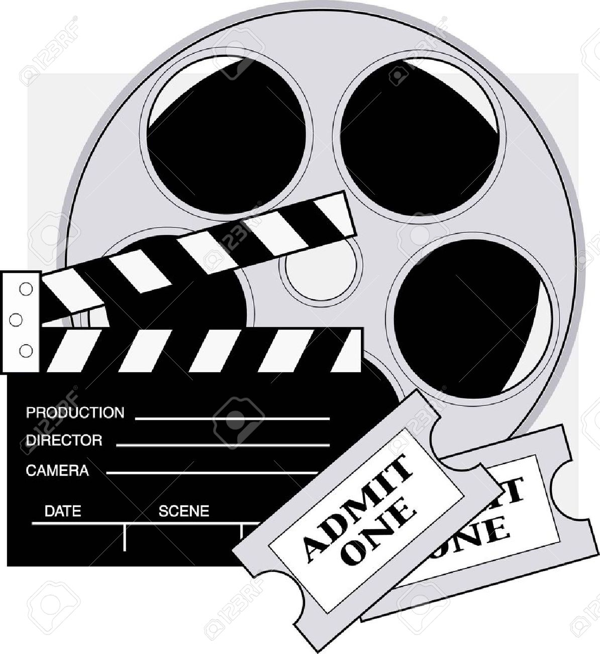 Clapboard Movie Reel And Admission Tickets For The Movies Royalty