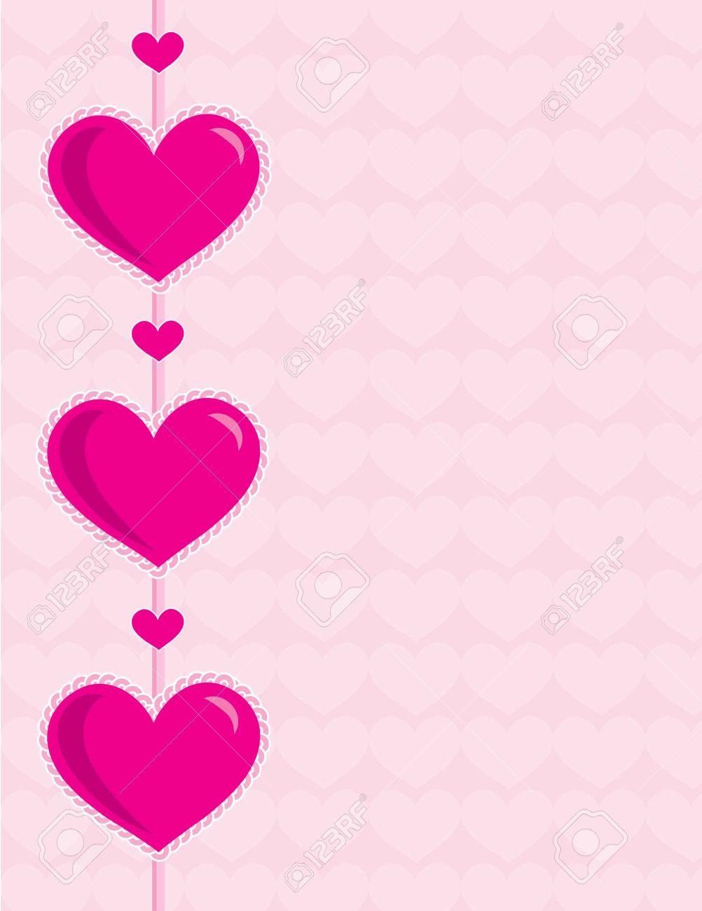 Tres Grandes Corazones De Color Rosa Palido Sobre Un Fondo Rosa Con