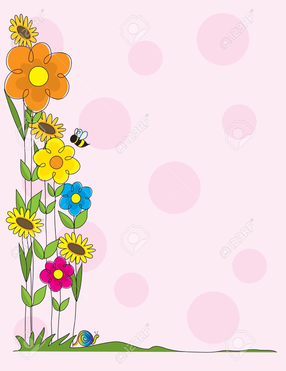 A Spring Garden Scene As Border On Pink Polka Dot Background Stock Vector