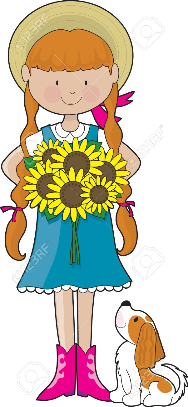 Young girl dressed in country style clothing, holding a bouquet of sunflowers. Her little dog, a Cavalier King Charles Spaniel, is looking up at her Stock Vector - 3229765