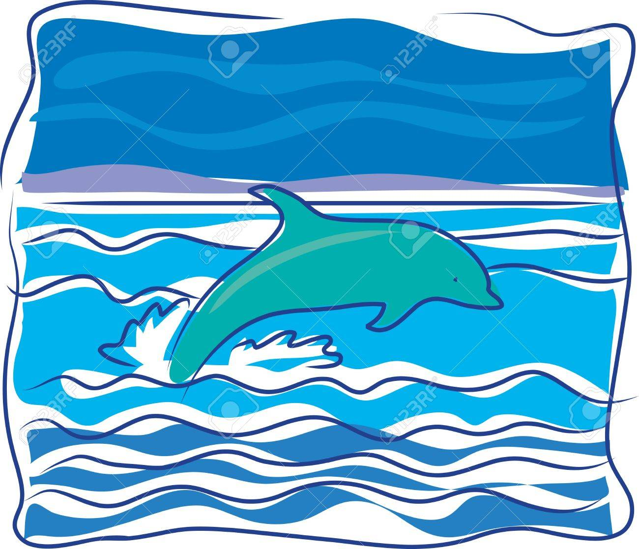 A dolphin jumping out of the waves on an ocean Stock Vector - 3659364