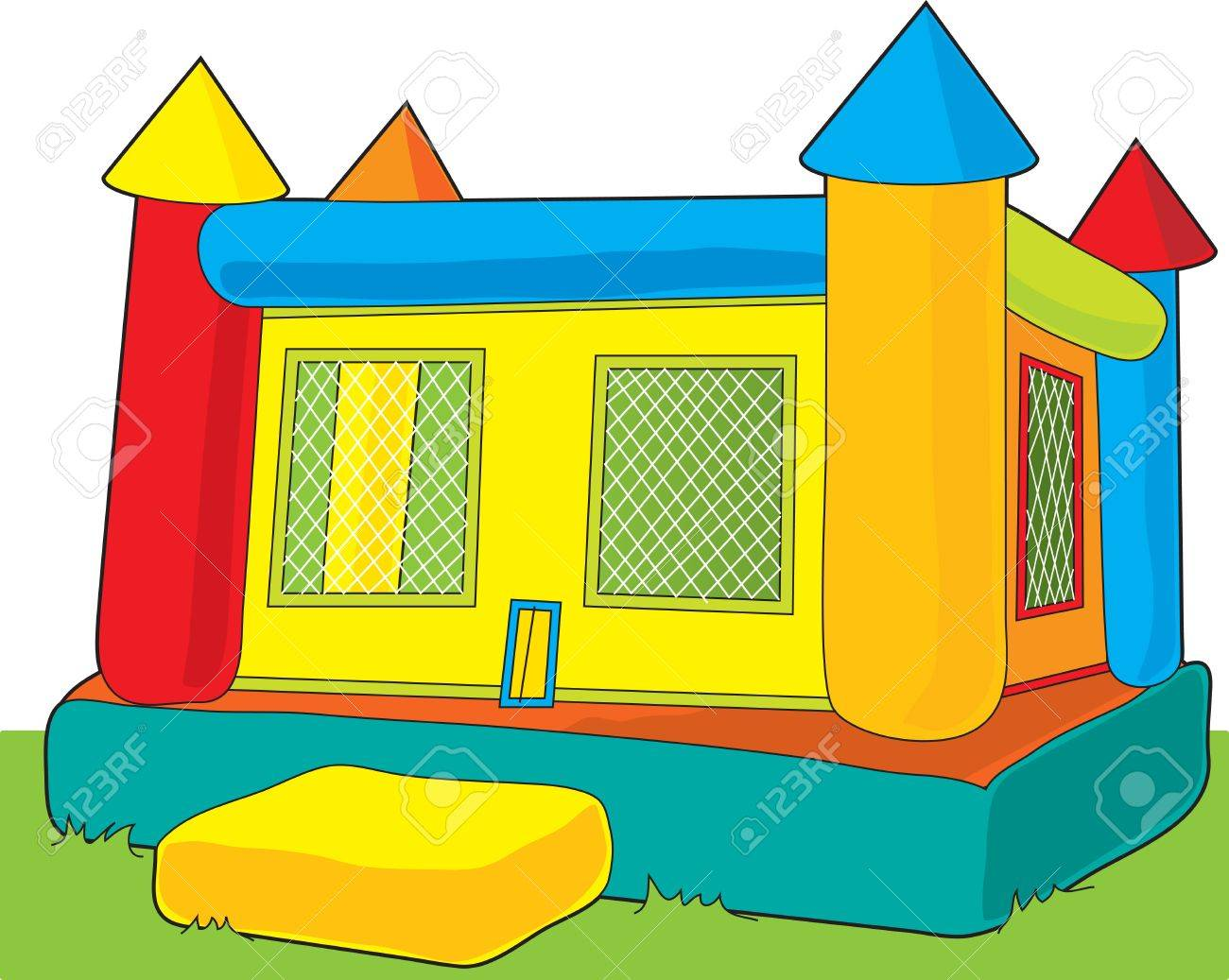 A colorful bounce castle set outdoors on white background Stock Vector - 4398241