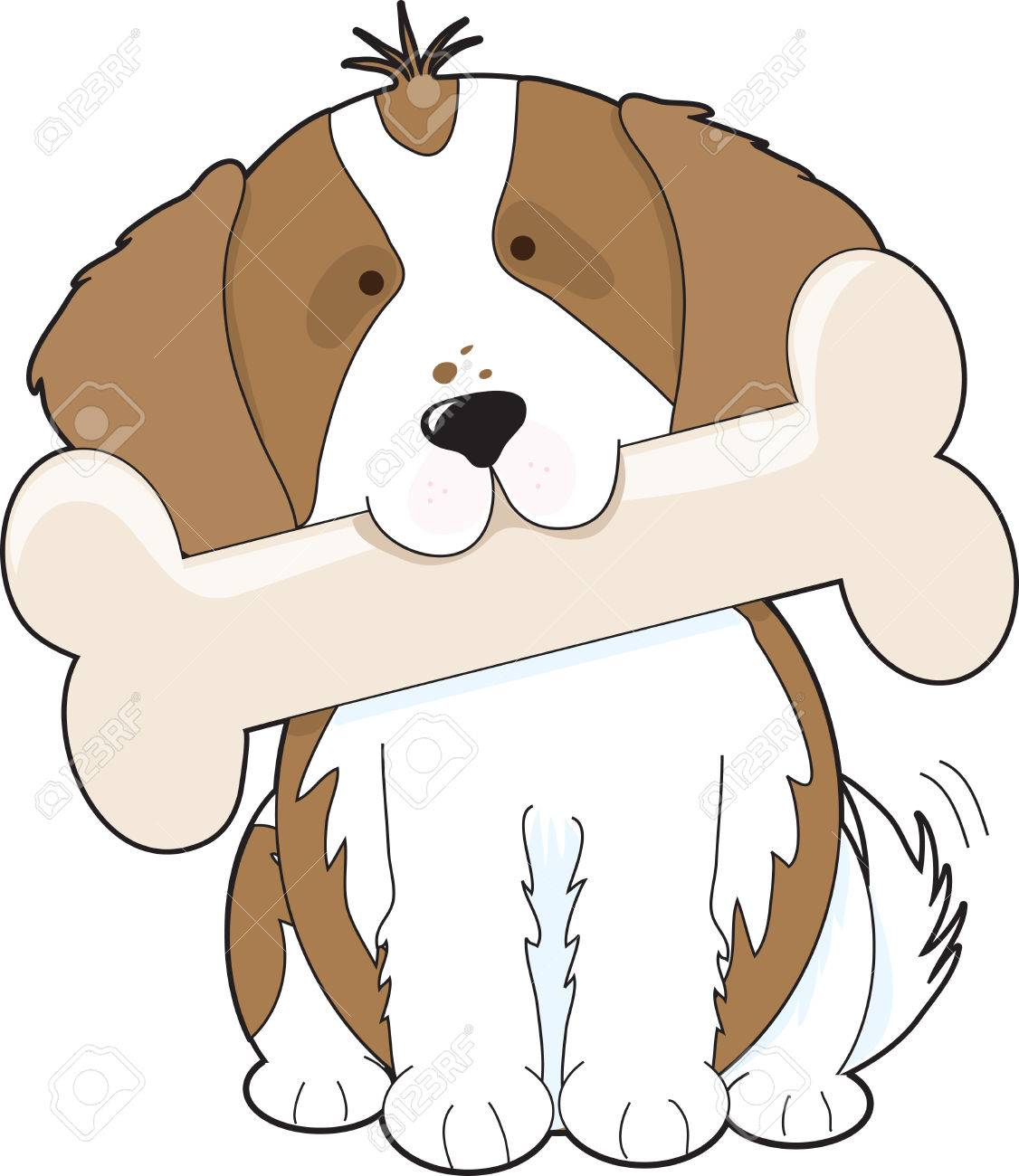 King Charles Cavalier Spaniel holding a big bone in its mouth Stock Vector - 4712100