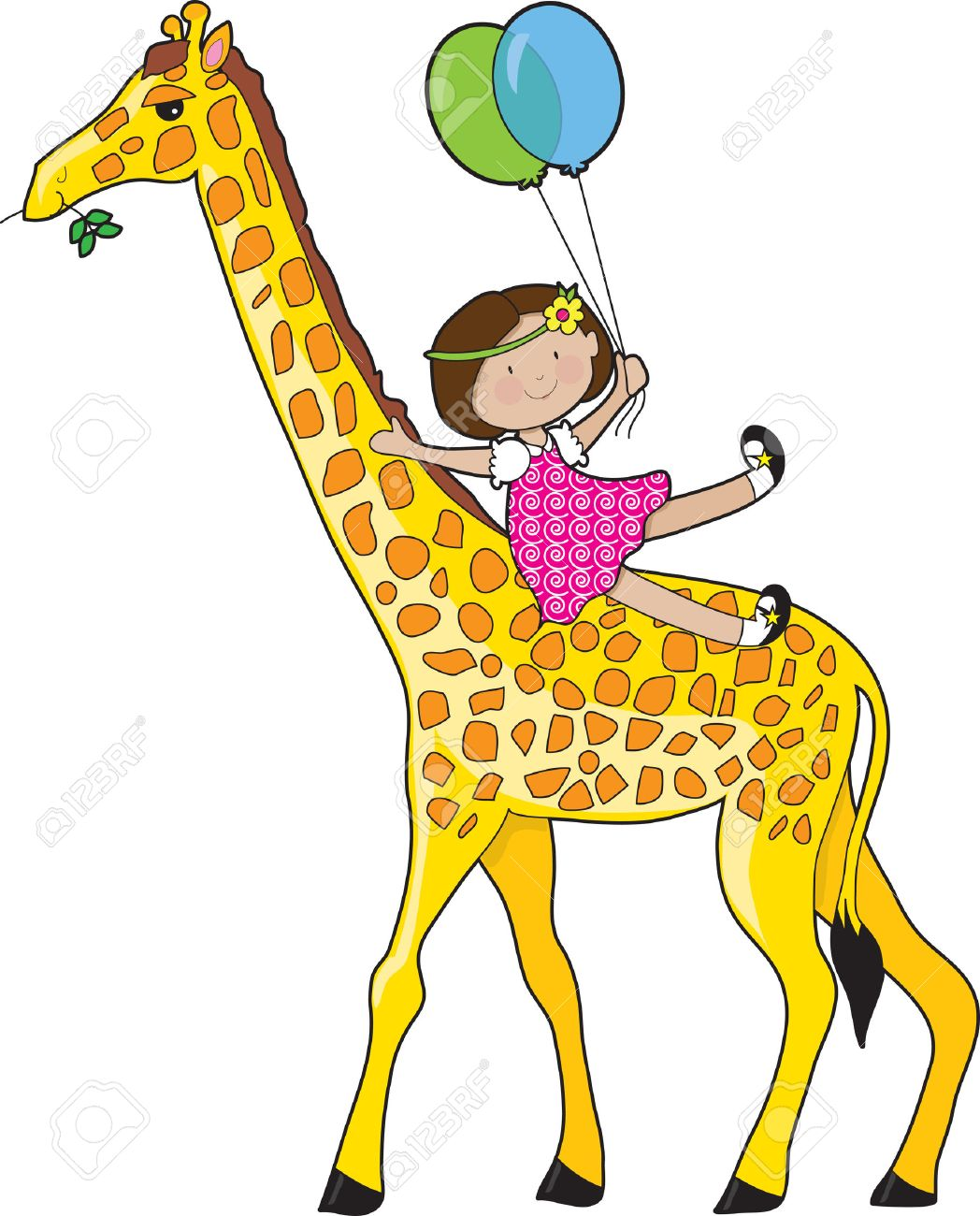 A little girl is sliding down a giraffe's neck. She is holding two balloons Stock Vector - 5399075