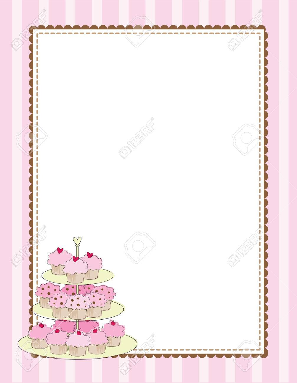 A striped border with a tiered tray of cupcakes Stock Vector - 5545075
